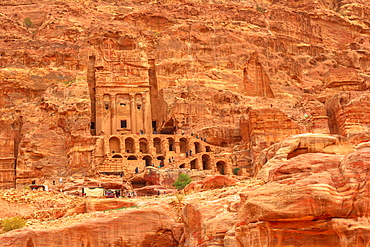 Roman soldier's tomb (Urn tomb) located in the side of the mountain known as al-Khubta, above Wadi Musa, Petra, UNESCO World Heritage Site, Jordan, Middle East - 1314-205