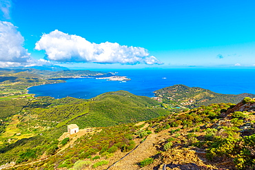 Panoramic view of Portoferraio Gulf, Elba Island, from top of Monte Volterraio on which the fortress dominates north part of island, with Church of San Leonardo in the background, Tuscan Archipelago, Tuscany, Italy, Europe