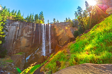 Beautiful waterfall of Vernal Fall on Merced River Mist trail, Yosemite National Park, UNESCO World Heritage Site, California, United States of America, North America - 1314-230