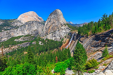Half Dome, Mount Broderick and Liberty Cap with Nevada Fall waterfall on Merced River, Yosemite National Park, UNESCO World Heritage Site, California, United States of America, North America