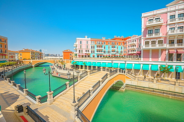Two bridges in Venice Doha at Qanat Quartier in the Pearl-Qatar, Persian Gulf, Doha, Qatar, Middle East