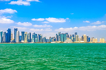 Banner panorama of Doha cityscape, West Bay skyline in Doha Bay, Doha, Qatar, Middle East