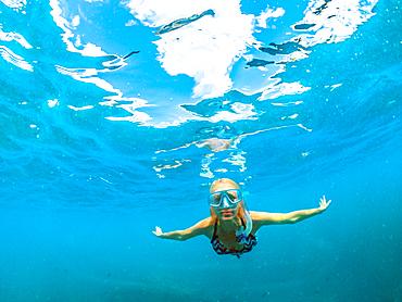 Female in bikini swimming underwater, Seychelles, Indian Ocean, Africa