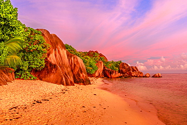 Granite boulders on beach, Anse Source d'Argent at twilight, La Digue, Seychelles, Indian Ocean, Africa