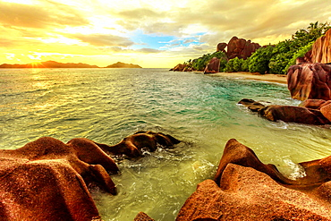 Colorful sky at twilight Anse Source d'Argent Beach, La Digue, Seychelles, Indian Ocean, Africa