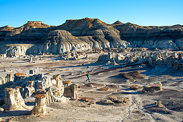 Hiking around hoodoo sandstone formations in Bisti/De-Na-Zin Wilderness, New Mexico, United States of America, North America