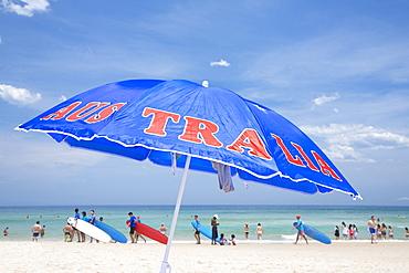 Australia umbrella at Bondi Beach, Sydney, New South Wales, Australia, Pacific