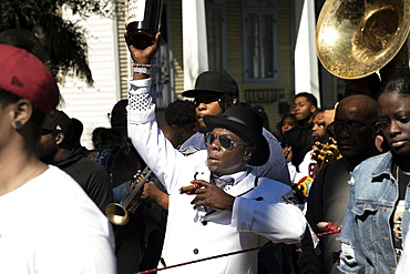 Marching in a Second Line Parade in New Orleans, Louisiana, United States of America, North America