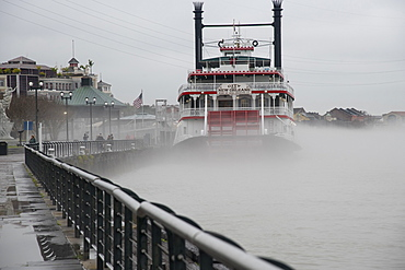 Paddlewheel boat in the fog on the Mississippi River, New Orleans, Louisiana, United States of America, North America