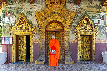 A Buddhist monk in saffron robes standing at the Royal Palace, Luang Prabang, Laos, Indochina, Southeast Asia, Asia
