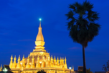 The Golden Temple at night, Vientiane, Laos, Indochina, Southeast Asia, Asia