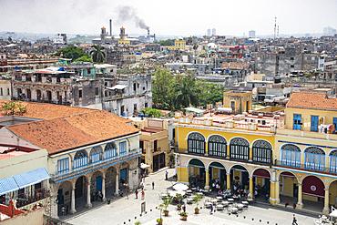 View over Plaza Vieja in Old Havana, UNESCO World Heritage Site, Havana, Cuba, West Indies, Caribbean, Central America