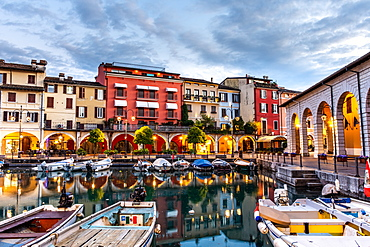 Sunset over marina at Lake Garda in Desenzano del Garda, Lombardy, Italy, Europe