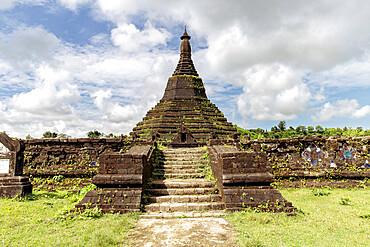Steps leading to the stupa at Laungbanpyauk Pagoda, surrounded by a wall decorated with ceramic tiles, Mrauk U, Rakhine, Myanmar (Burma), Asia