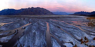 Small creeks flow into the salt flats, California, United States of America, North America - 1318-179