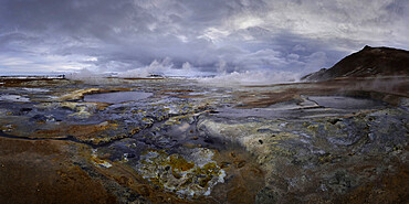 Mud pots at Hverir Thermal Area, Iceland, Polar Regions
