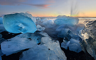 Pieces of glacial ice over black sand being washed by waves, Iceland, Polar Regions