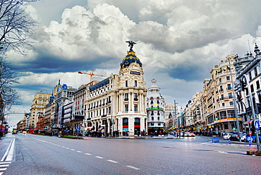 The Famous Edificio Metropolis Building in Madrid City located at Gran Via street, Madrid, Spain, Europe