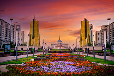 View of The Ak Orda Presidential Palace from Nurzhol Boulevard in Nur-Sultan City, formerly known as Astana, Kazakstan, Central Asia, Asia