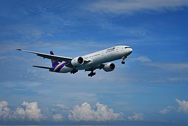Thai Airways Boeing 777 approaching Phuket International Airport, Thailand, Southeast Asia, Asia