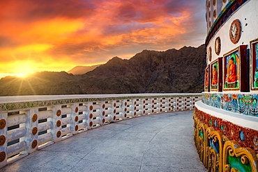 Shanti Stupa, a famous Buddhist Stupa located in the heart of Leh city in Ladakh region of India, Asia