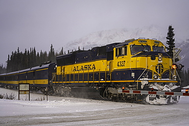 Alaskan Railroad going through Denali National Park in the winter, Alaska, United States of America, North America