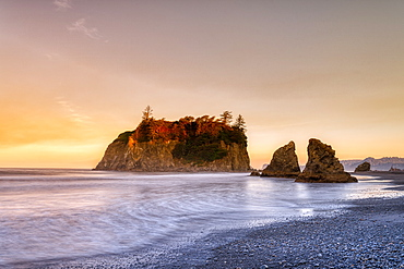 Sunrise at Ruby Beach in Olympic National Park, UNESCO World Heritage Site, Washington State, United States of America, North America - 1320-111