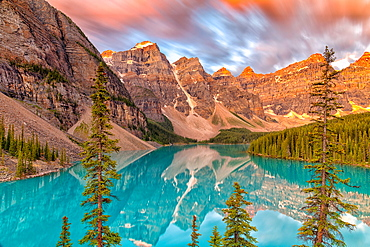 Lake Moraine at sunrise, long exposure, Banff National Park, UNESCO World Heritage Site, Alberta, Canadian Rockies, Canada, North America