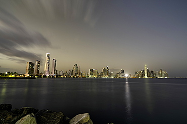 Long exposure of Panama City at dusk from the Monument Of The Flag Of Panama Park, Panama, Central America