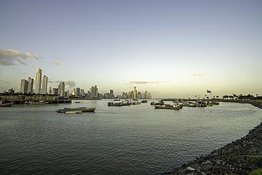 The Bay of Panama with Panama City Skyline, Panama, Central America