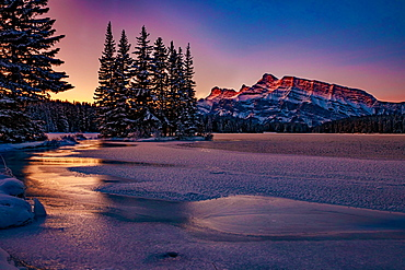 Beautiful sunset on a very cold morning, Banff, Alberta, Canada, North America