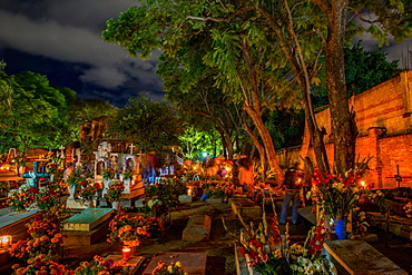 Dia De Los Muertos (Day of the Dead) celebrations in the cemeteries of Oaxaca, Mexico, North America
