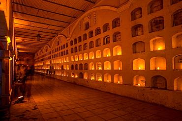 Dia De Los Muertos (Day of the Dead) candles in the cemeteries of Oaxaca, Mexico, North America