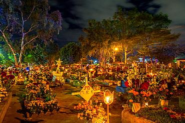 Dia De Los Muertos (Day of the Dead) celebrations in the cemeteries of Oaxaca, Mexico, North America