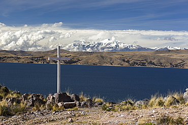 Daylight on Lake Titicaca with the Cordillera Real mountain range in the background, La Paz Department, Bolivia, South America
