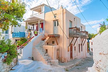 A corner of Mykonos Town with washing out, Mykonos, Cyclades, Greek Islands, Greece, Europe