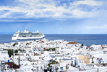 Cruise ship Jewel of the Seas anchored in Mykonos, Cyclades, Greek Islands, Greece, Europe