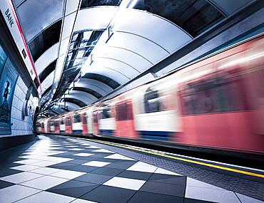 Bank Station capturing motion of the moving train, London, England, United Kingdom, Europe - 1328-5