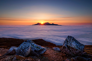 Morning above the sea of cloud, Iceland, Polar Regions