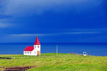 Red church by the sea, Iceland, Polar Regions