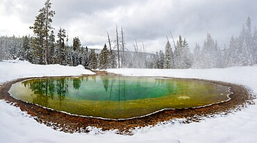 Morning Glory pool hot spring in the snow with reflections, Yellowstone National Park, Wyoming, United States