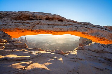 Glowing arch at Mesa Arch, Canyonlands National Park, Utah, United States of America, North America
