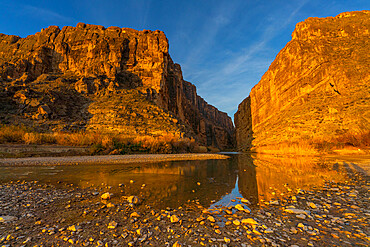 Santa Elena Canyon with golden reflection, Big Bend National Park, Texas, United States of America, North America