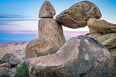 Balanced Rock at sunset, Big Bend National Park, Texas, United States of America, North America