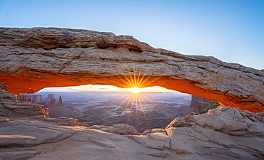 Sunrise at Mesa Arch with sunburst, Canyonlands National Park, Utah, United States of America, North America