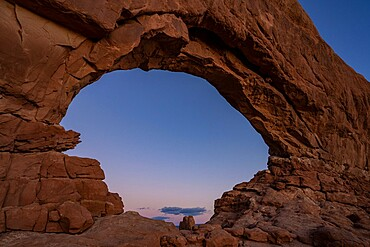 Dusk sky through Windows Arch, Arches National Park, Utah, United States of America, North America