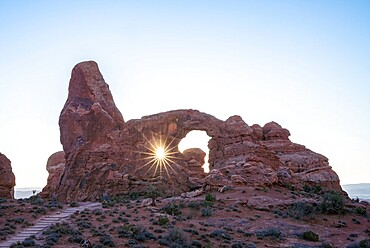Sunburst through Turret Arch, Arches National Park, Utah, United States of America, North America