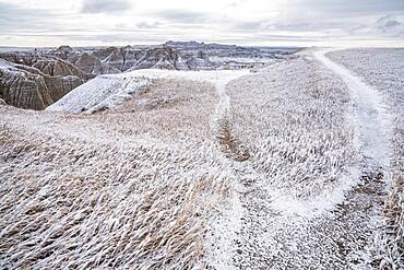 Winter scene in the Badlands, Badlands National Park, South Dakota, United States of America, North America