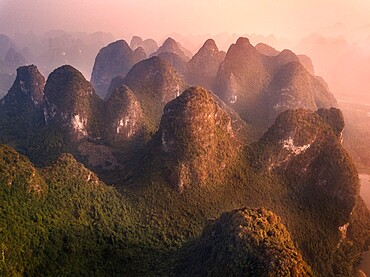 Aerial view of the Yangshuo mountains in the Li River area, Guangxi, China, Asia