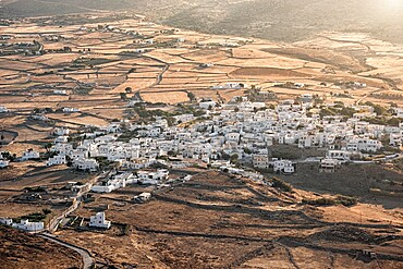 Small Greek village at sunset, Paros Island, Cyclades, Greek Islands, Greece, Europe